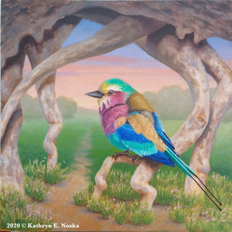 Lilac Breasted Roller: Self-worth 6x6 $300 | At my Online Store